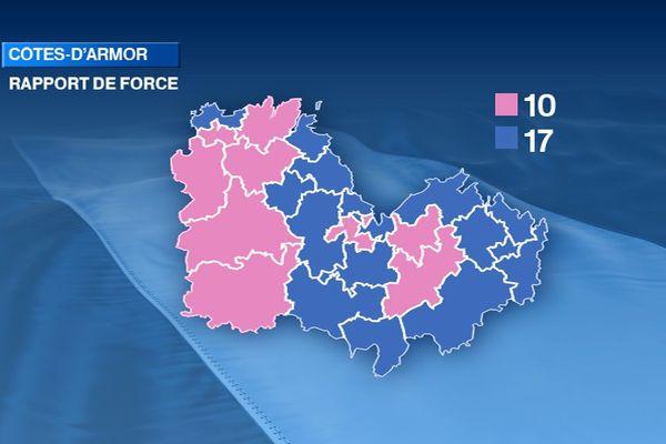 Couleur politique des Côtes d'Armor à l'issue des élections départementales 2015. Rose : gauche - Bleu : droite