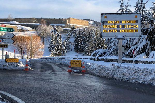En raison d'un éboulement, la route entre Mont Louis et Olette (RN116) dans les Pyrénées-Orientale est fermée.