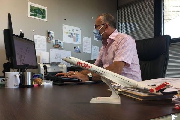 Yves Loubet, directeur par intérim de Lorraine Airport à son bureau le 21 juillet 2020