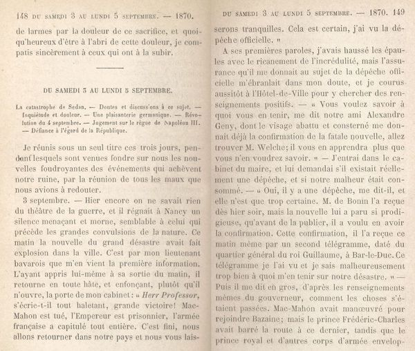 Louis Lacroix raconte l'annonce de la défaite de Sedan (4 septembre 1870).