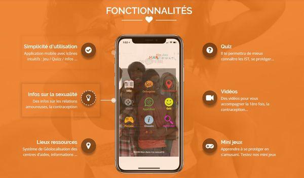 """Les fonctionnalités de l'application """"Bien dans ma sexualité"""", développée par l'ARS Hauts-de-France"""