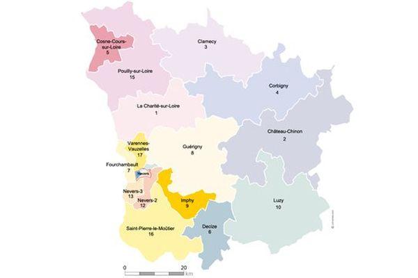 La carte des cantons a été redessinée, la Nièvre en compte désormais 17 contre 32 auparavant.