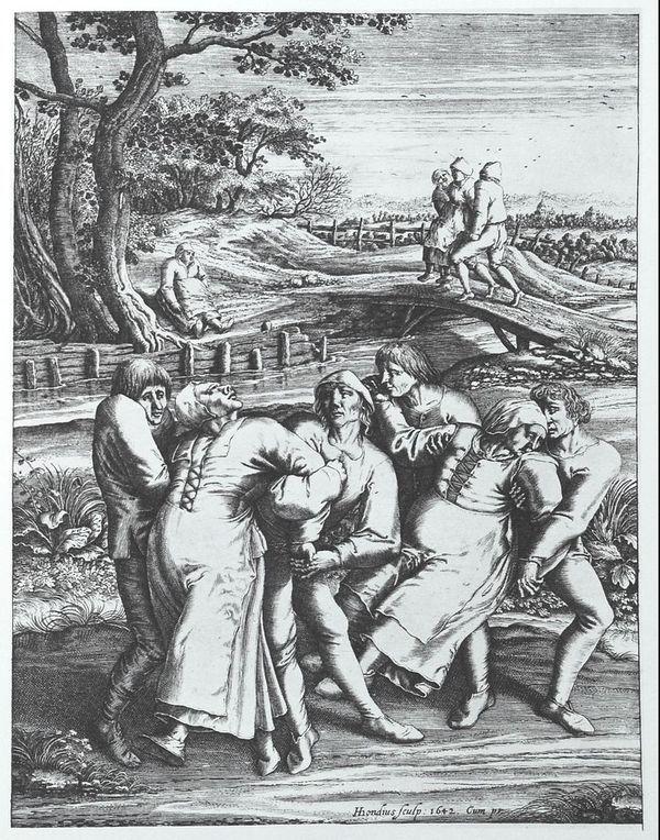 Trois femmes atteintes de l'épidémie de danse.