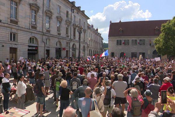 Photo d'archive de la manifestation anti-pass sanitaire à Besançon, le 30 août 2021.