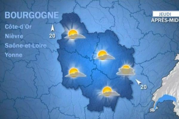 Les prévisions de Météo France jeudi 5 novembre 2015 après-midi