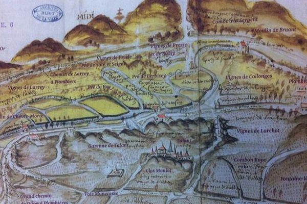 Un extrait d'un plan de Dijon de 1550 montrant la ville entourée de parcelles de vignes