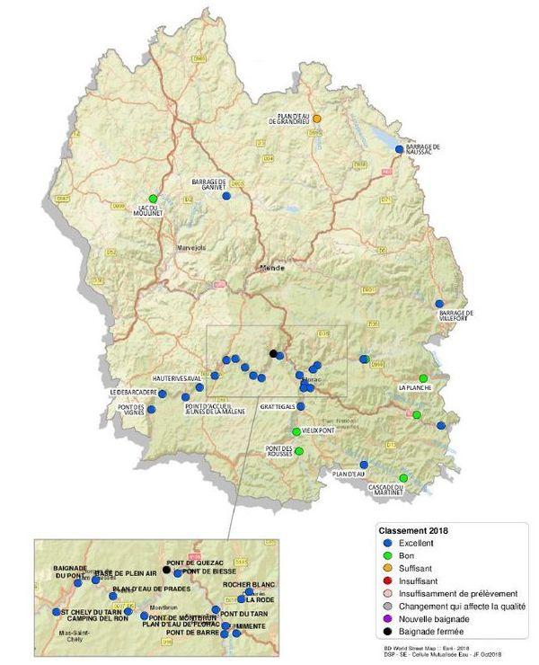 Carte de la qualité des eaux de baignade en eau douce en Lozère.