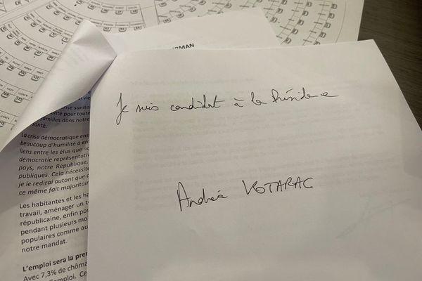 Texte de candidature du candidat à la présidence de région Andréa Kotarac, transmis à l'ensemble des élu(e)s et de la presse