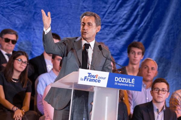 Nicolas Sarkozy Candidat à la primaire de la droite, lors d'une reunion publique dans le Calvados