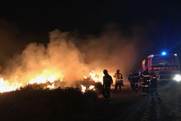 500 hectares de végétation ont été détruits par le feu entre La Palme et Sigean dans l'Aude le 6 septembre 2017.
