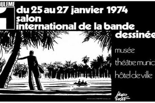 L'affiche du 1er salon de la bande dessinée en 1974 dessinée par Hugo Pratt