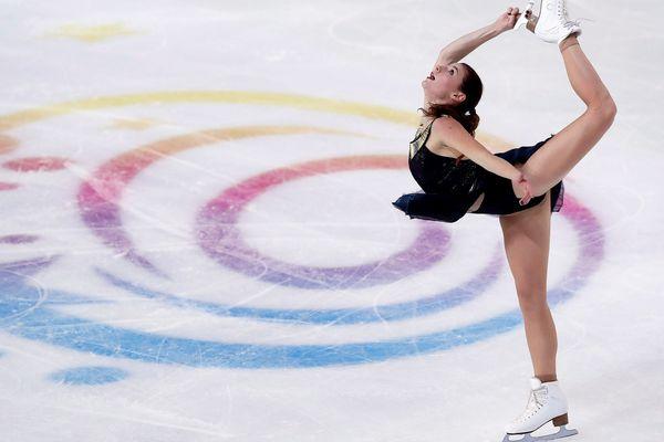 Laurine Lecavelier lors des Internationaux de France de Patinage artistique et de Danse sur glace à Grenoble le 23 novembre 2018.