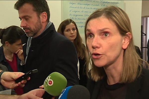 Agnès Pannier-Runacher, secrétaire d'État auprès du ministre de l'Économie et des Finances Bruno Le Maire, à la sortie de la réunion de crise organisée par l'Etat à Amiens avec les élus locaux et le repreneur du site Whirlpool.