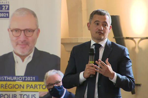 Gérald Darmanin en visite à Dijon ce jeudi 10 juin pour soutenir Denis Thuriot, candidat LREM à la présidence de la région.