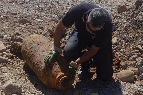 Une bombe de la Seconde Guerre mondiale retrouvée sur un chantier en Alsace, en août 2016.