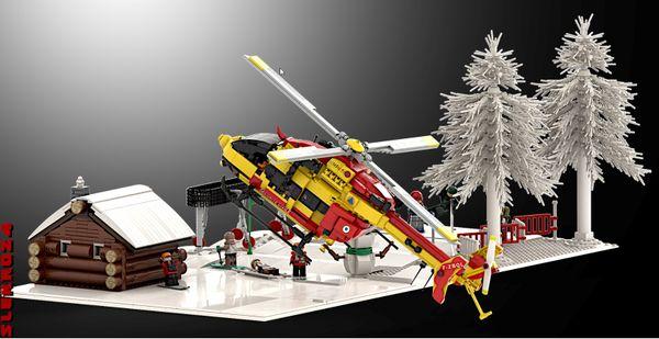 L'hélicoptère Dragon de la Sécurité Civile, version Lego, est utilisé pour toute sorte de mission y compris des sauvetages en montagne, comme le vrai.