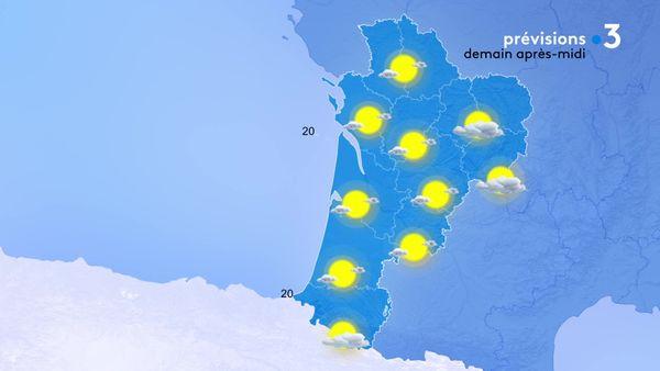 Grand soleil pour tout le monde... à part quelques nuages encore récalcitrants à l'Est de la région...