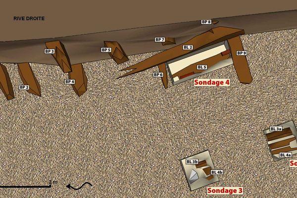 Reconstitution en 3 D d'une partie des madriers déblayés dans le Clain