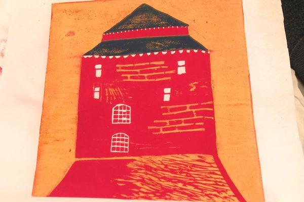 Le donjon de Châteaugiron, gravure de Quentin Masse