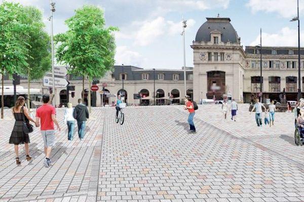 Image de synthèse d'une hypothèse du futur parvis de la gare
