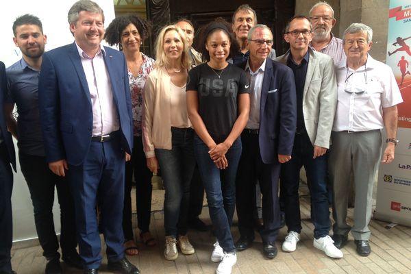 Allyson Felix (au centre) était présente lors de la conférence de presse de présentation du Meeting de Marseille