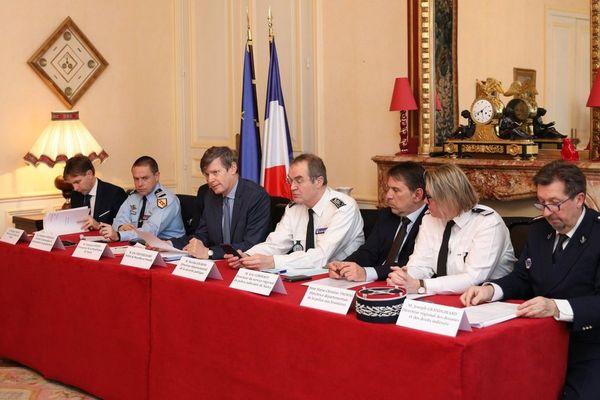 Conférence de presse sur le bilan de la sécurité en 2018 en Meurthe-et-Moselle, jeudi 7 février 2019, à Nancy.