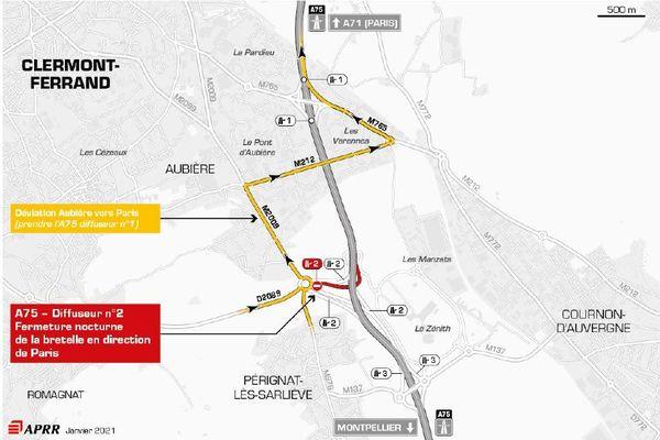 Des déviations sont mises en place au sud de Clermont-Ferrand sur l'autoroute A75.