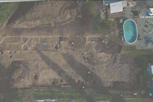 Découvertes archéologiques sur le chantier d'une maison près d'Aleria (Haute-Corse).