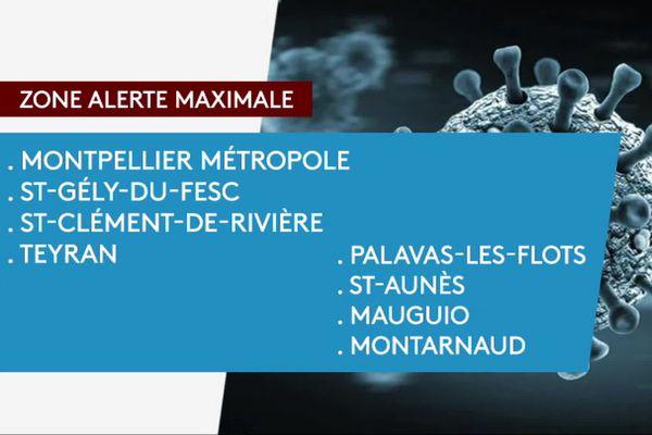 38 communes de l'Hérault en zone d'alerte COVID-19 maximale au 13 octobre 2020.