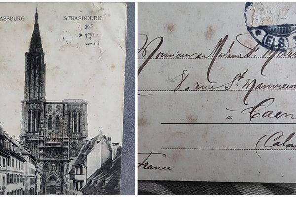 La carte postale de la cathédrale de Strasbourg datant de 1920 a été envoyée au couple Marie à Caen. Des volontaires cherchent les descendants des destinataires.