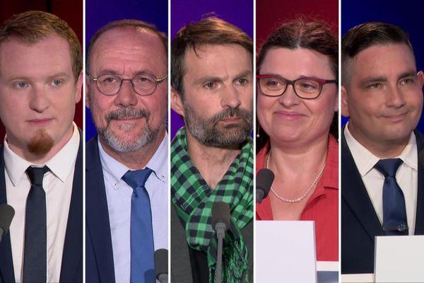 G. Chapuis, candidat PS ; M. Gaudet, président sortant et candidat DVD ; G. Guerré, candidat EELV ; C. Fradot, candidate LREM ; C. Hemardinquer, candidat RN.