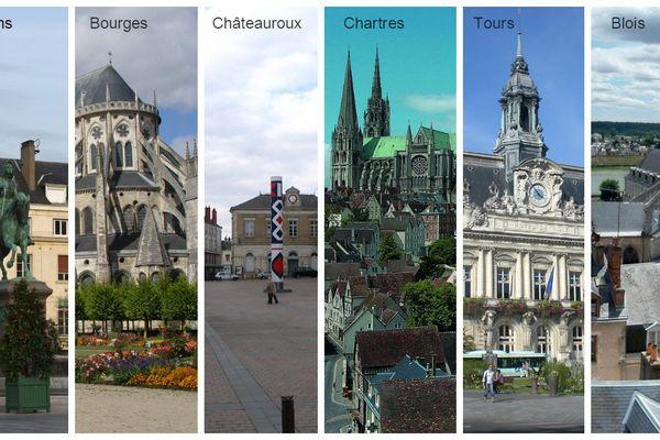 Les six principales villes du Centre-Val de Loire