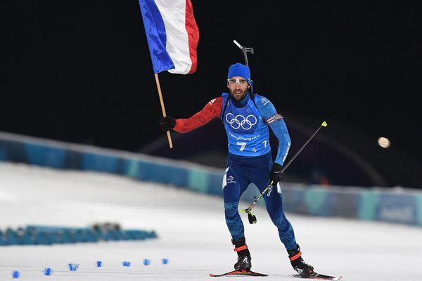 Martin Fourcade lors du relais mixte du biathlon aux JO de Pyeongchang