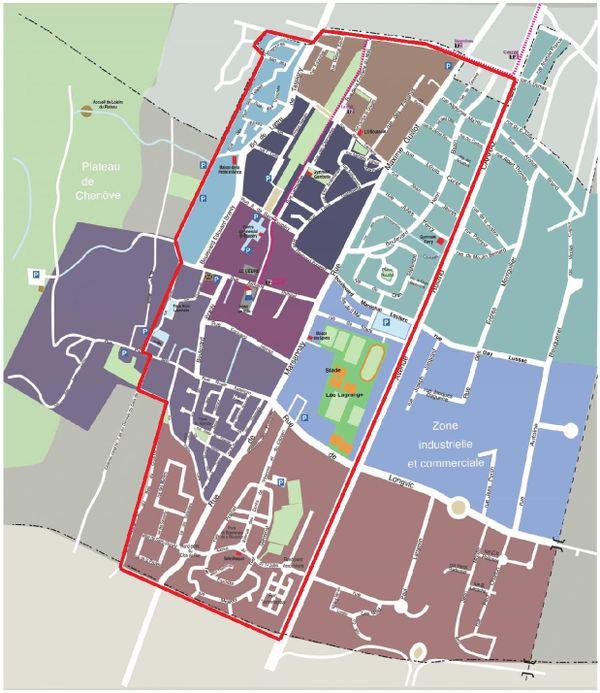 Encadrée de rouge, la zone où s'applique le couvre-feu visant les mineurs à Chenôve.