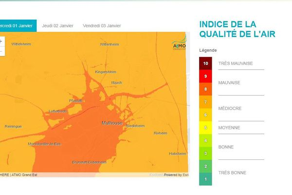 Le niveau de pollution aux particules détecté à Mulhouse par ATMO Grand Est
