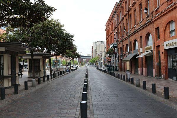 La place Jean-Jaurès à Toulouse, au moment du premier confinement, en avril 2020.