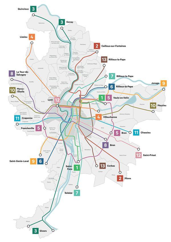 Le plan des Voies lyonnaises proposé par la métropole de Lyon à horizon 2030.