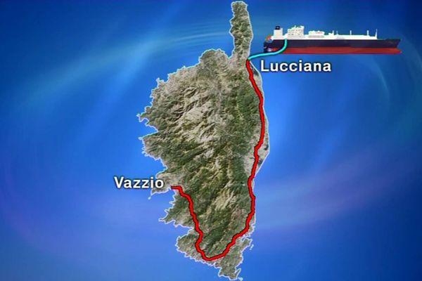 Le gazoduc desservira la centrale de Lucciana, descendra la plaine orientale avant de bifurquer vers la centrale du Vazziu. Un tracé estimé à 200 kilomètres.