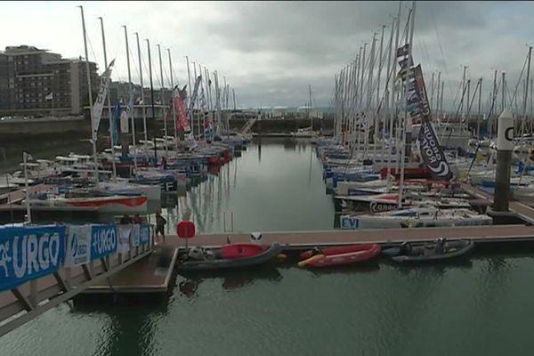 Les bateaux de la Solitaire Urgo Le Figaro 2018 réunis dans le bassin de nautisme du Havre