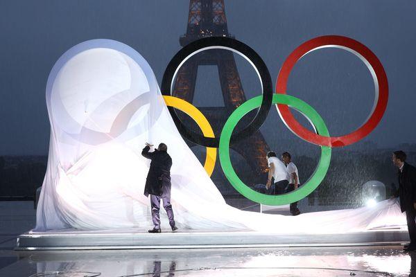 La cérémonie d'annonce de la ville-hôte pour les Jeux de 2024, au Trocadéro, à Paris.