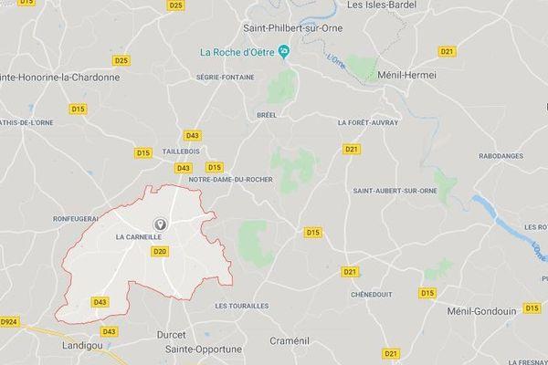 En rouge, les limites de la commune d'Athis-Val-de-Rouvre où a disparu l'homme de 86 ans.