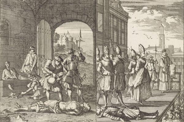 """Montage des gravures """"Marteling van ketters in Atrecht"""" (""""Torture d'hérétiques à Arras"""") et """"Heksenproces in Atrecht"""" (""""Procès de sorciers à Arras"""")"""