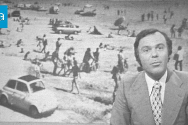 """Claude Brovelli - Présentateur de """"24h sur la Une"""" le journal télévisé de 13 heures du 16 août 1973"""