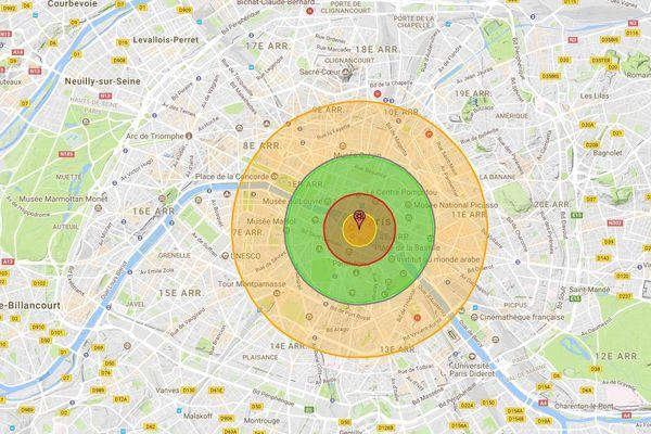 L'impact fictif d'une bombe nucléaire de 50 kilotonnes sur Paris.