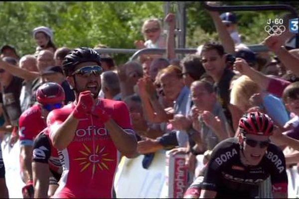 Nacer Bouhanni, vainqueur, lors de la 1ère étape du Dauphiné Libéré en 2016.