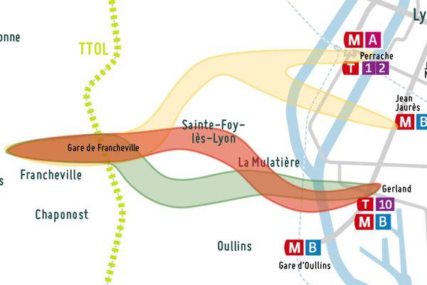 Trois itinéraires ont été proposés par le Sytral