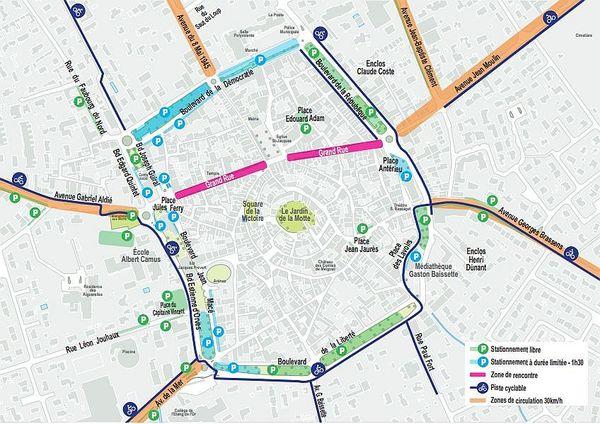 Le nouveau plan de stationnement du centre-ville de Mauguio.