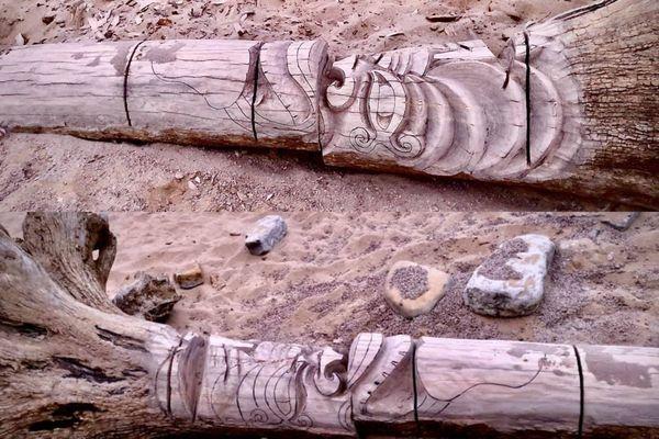 Le totem tronçonné, plage du Veillon, aux Sables d'Olonne, le 10 mars 2021