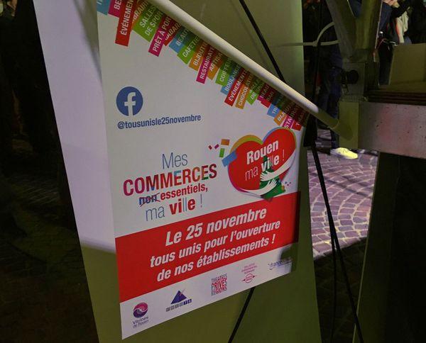 Rouen : une affiche des commerçants de Rouen appelant à un rassemblement le 25 novembre 2020