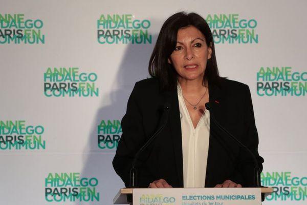 Anne Hidalgo à son QG de campagne à Paris le 15 février.